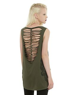 Olive Double Skull Lattice Back Girls Tank Top, OLIVE