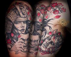 Samurai girl half sleeve tattoo by Jin O at Kaleidoscope Tattoo studio in Bondi, Sydney