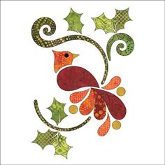 Christmas Cardinal - Batik - Applique Set by Patricia E. Ritter Laser cut iron-on fabric applique pieces backed with Steam-A-Seam 2 (a fusible webbing that is not permanent until ironed). Bird Applique, Applique Quilt Patterns, Applique Templates, Machine Applique, Applique Designs, Embroidery Applique, Quilting Designs, Owl Templates, Felt Patterns