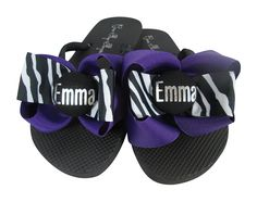 Personalized Name Bow Flip Flop Sandals Ladies Girls Customize Zebra Purple Silver *** Check this awesome product by going to the link at the image.