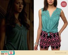 Elena's teal green button front tank top on The Vampire Diaries.  Outfit Details: https://wornontv.net/21684/ #TheVampireDiaries