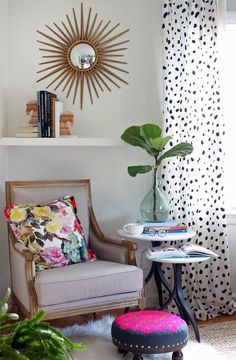bold bright floral + dalmatian fabric, horse bookends, once stacked higher than the other