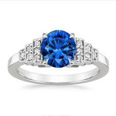 1.50 Ct Genuine Diamond #EngagementRing 14K #WhiteGold Real #BlueSapphire Size L