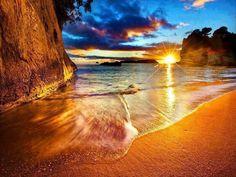 New Zealand- Cathedral Cove Beach Sunrise pic.twitter.com/rgz8aw19sz
