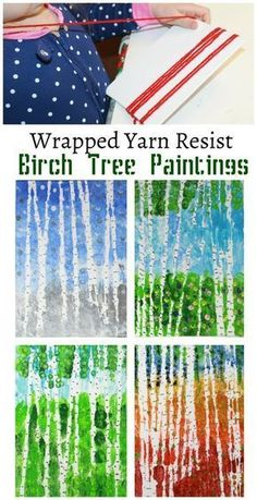 Wrapped yarn resist birch tree paintings for every season. Kids arts and crafts projects. Inspired by artist Gustav Klimt Wrapped yarn resist birch tree paintings for every season. Kids arts and crafts projects. Inspired by artist Gustav Klimt Kids Crafts, Arts And Crafts Projects, Preschool Crafts, Preschool Art Projects, Creative Crafts, Toddler Arts And Crafts, Children Art Projects, Easy Crafts, Art Projects For Kindergarteners