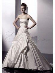 Silk Satin Strapless Semi-catherdral Train A-line Wedding Dress