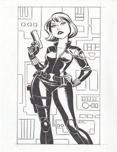 Scarlett Johansson as Black Widow - Bruce Timm Bruce Timm, Batman, Superman, Dc Comics, Comics Girls, Comic Book Artists, Comic Artist, Comic Books Art, Black White Art