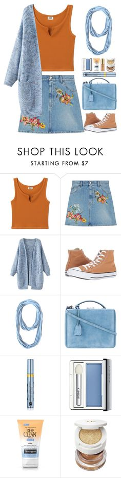 """Blue Cardigan"" by gicreazioni ❤ liked on Polyvore featuring Gucci, Converse, Mark Cross, Estée Lauder, Clinique and Tom Ford"