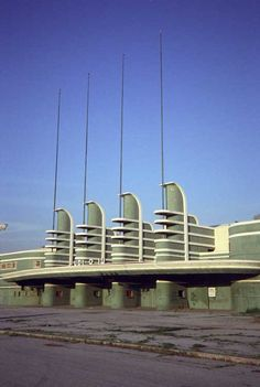 """Facade of Pan-Pacific Auditorium in Los Angeles, 1935. Burned down in 1989. Featured in the movie """"Xanadu""""."""