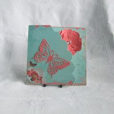 Handmade Card for Any Occasion, Vintage Rose & Butterfly
