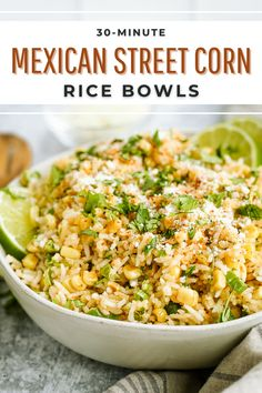 This 30-minute recipe is a meal prepper's dream! Serve it as a side dish or main meal with your favorite protein (like rotisserie chicken) and enjoy all week #ad #mexicanstreetcorn #ricebowls #easyricerecipes Healthy Meal Prep, Healthy Snacks, Healthy Recipes, Easy Weeknight Meals, Quick Meals, Smart Nutrition, Mexican Street Corn, Veggie Wraps, Balanced Life