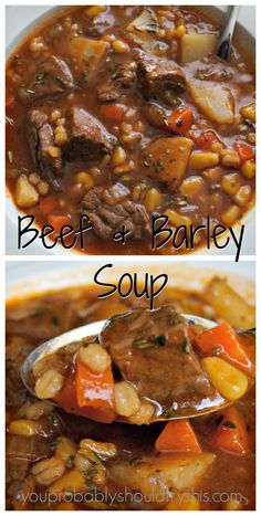 Hearty, satisfying, and soul warming. This soup will help you survive a seemingly endless winter. Hearty Beef & Barley Soup Yield: 8 servings Prep: 15 minutes Cook: Stovetop- hr, Crockp… - My WordPress Website Beef Soup Recipes, Slow Cooker Recipes, Cooking Recipes, Healthy Recipes, Recipes Dinner, Easy Recipes, Crockpot Beef Barley Soup, Vegetable Beef Barley Soup, Stewing Beef Recipes