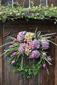 Purple Hydrangea Wreath - Frontgate