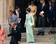 Prince Philip With The Mother Of The Bride, Mrs Rhys-jones, Followed By Prince Charles And Princess Anne Who Is Chatting To Sophie Rhys-jones's Brother, David, At The Wedding Of Prince Edward To Sophie Rhys-jones, Windsor.
