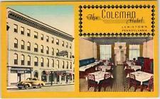 LEWISTOWN, Pennsylvania  PA    THE COLEMAN HOTEL  Roadside 1940s Linen Postcard