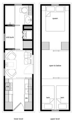 8x28 family tiny house, no practical dining area but a covered deck could extend the living space (by the side door).