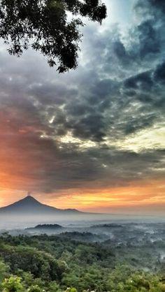 Sunrise over Merapi mountain, Java - Indonesia
