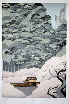 These beautiful woodblock made by Japanese printmaker and painter Ray Morimura Japan Illustration, Japanese Art Modern, Japanese Prints, Modern Asian, Japanese Design, Art Occidental, Japanese Woodcut, Art Asiatique, Art Japonais