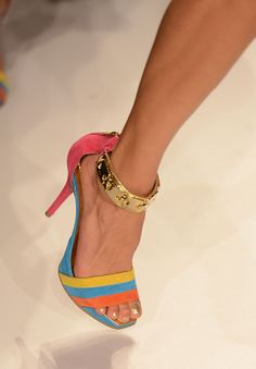 #Colorblocked with #Gold Straps #Heels at the Cia Maritima swimwear show #MBFWSwim 2013