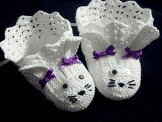 Crochet Easter Bunny Baby Booties. Baby Girl Shoes. by hrs09