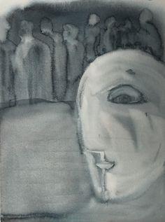 Sirkkaliisa Virtanen: Outsider, watercolor Art, Watercolor, Male Sketch