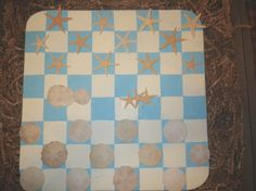 Nautical Beach Themed Checker Set with Real by CBEUsedBlues