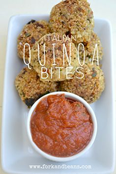 These gluten-free Italian Quinoa Bites look and taste amazing! Try this gluten free snack with some marinara sauce for a great, healthy treat.