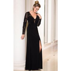 Sean Collection 50888 Mother of The Bride Long V-Neck Long Sleeve ($338) ❤ liked on Polyvore featuring dresses, gowns, formal dresses, onyx black, formal gowns, long sleeve formal gowns, long evening dresses, long formal evening gowns and long sleeve dress