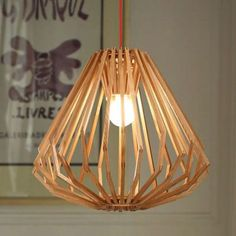 Creative Wood Pendant Lamp Diamond Wooden Shade Hanging Light Resturant Coffee Shop Bar Chandelier