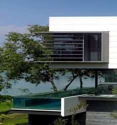 lakeshore view house with suspended pool in Sentosa, Singapore