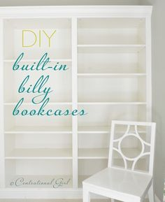 "prateleiras - DIY Ikea Billy Bookcases turned into ""built-in"" bookcases. I need this done to my living room!and set up as a pantry in the kitchen. and a bookcase in the bedroom. Ikea Billy Bookcase, Built In Bookcase, Bookshelves Ikea, Book Shelves, Ikea Shelves, Wall Shelving, Book Storage, Wall Storage, Ikea Billi"