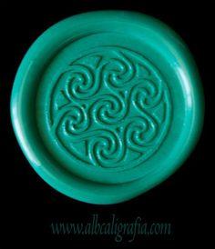 Sealing wax medallion in aqua color
