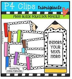 FREE Black Polka Dot Pencil Labels {P4 Clips Triorignals D