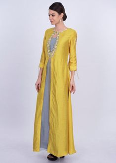 Greyish Blue Tunic Dress In Georgette With Yellow Attached Top Layer Online - Kalki Fashion Greyish blue georgette tunic dress with yellow attached top layer only on Kalki Neck Designs For Suits, Sleeves Designs For Dresses, Dress Neck Designs, Neckline Designs, Tunic Designs, Kurta Designs Women, Churidar Designs, One Piece Frock, Embroidery Suits Design