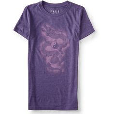 Aeropostale Free State Ancient Dragon Graphic T ($8) ❤ liked on Polyvore featuring tops, t-shirts, violet moon, graphic design t shirts, purple graphic tees, graphic print t shirts, slim fit graphic t shirts and slim tee