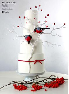 Holiday Wedding Birds Perhaps you know the cake already, as it was in the advertisment for the magazine, but I would still like to show it. Cake Central, Gorgeous Cakes, Pretty Cakes, Amazing Cakes, Fondant Cakes, Cupcake Cakes, Cupcakes, Cupcake Ideas, Winter Torte