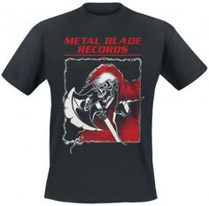 - Printed - Crew neck - Half sleeves  This 'Metal Blade: Metal will never die/Reaper' T-shirt has a crew neck and half sleeves. The front and back sides each feature a colourful print. The back says 'Heavy Metal Will Never Die!', while the front features a skull and an axe beneath 'Metal Blade Records'. Seasoned metal fans will recognise the name of this legendary American record label, which is credited with the discovery of many world-famous bands.