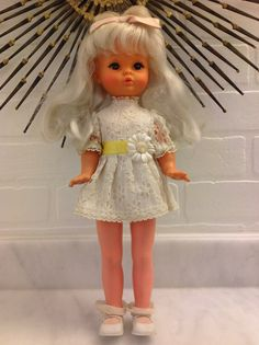 1960s CANADA Regal Toy Blonde Mod with Blue Eyes Original Lace Dress Daisy Vintage Doll