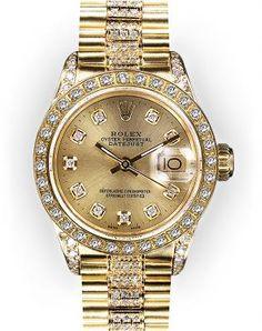 ♛ Rolex ladies 18k gold/diamonds ♛ @}-,-;--