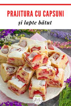 Finger Food Desserts, Finger Foods, Dessert Recipes, Romanian Desserts, Feta, Food To Make, Recipies, Good Food, Food And Drink