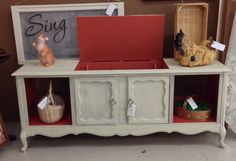 Vintage console stereo cabinet repurposed as a credenza.