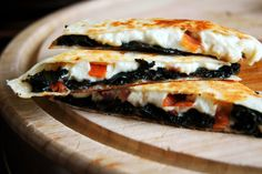 crispy bacon & garlic-sautéed kale-filled, crunchy-crusted quesadillas w/ melty queso fresco