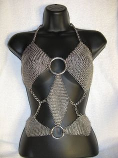 Diamond Chainmail Top by ~DeviantChainMaille on deviantART chainmail top, chainmail design, cloth, metal, bikinis, chains, chain maill, chainmail bikini, chainmaill