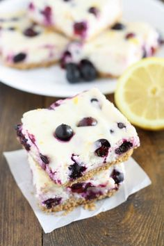 Skinny Lemon Blueberry Cheesecake Bars