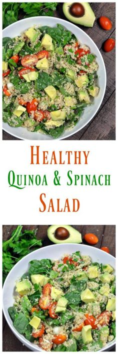 Healthy Quinoa Salad with Avocado and Tomatoes. Made with fresh ingredients and NO oil. Super simple and satisfying. I could eat this every single day.