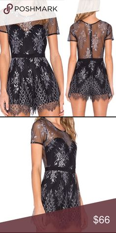 🌟SALE! Lovers + Friends lace romper. NWT. Size M. Beautiful lace romper with black and silver detailing. Super soft and lightweight material. Tags still attached and never been worn. I would keep for myself but it's not my size. Lovers + Friends Dresses Mini