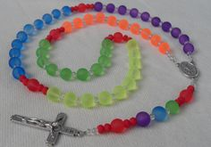 Rainbow Rosary FREE SHIPPING Bright Colors Frosted Glass by kastex