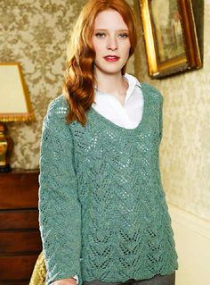 Knit a lacy sweater :: free knitting pattern :: sweater patterns knitting :: UK knitting patterns :: allaboutyou.com