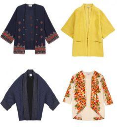 Mode printemps été 2015 :Le kimono, tendance mode printemps été 2015 Kimono Bash, 320 € Kimono jaune Etam, 59,95 € Kimono bleu marine Pablo Kimono à fleurs Dolores Promesas, 245,90 €