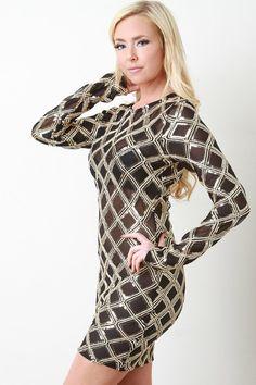 Semi-Sheer Art Deco Bodycon Dress